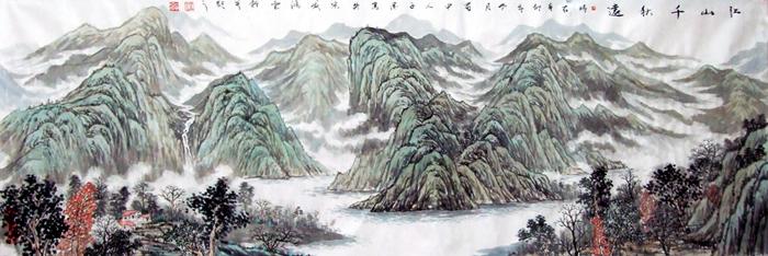 山水画作品《江山千秋远》 | 伍子溪